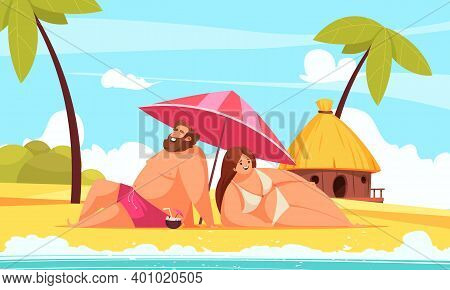 Body Positive Cartoon Background With Happy Chubby Man And Woman Lying Under Umbrella On Beach Vecto