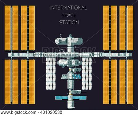 Flat Colored Orbital International Space Station Concept With Top View And Yellow Panels
