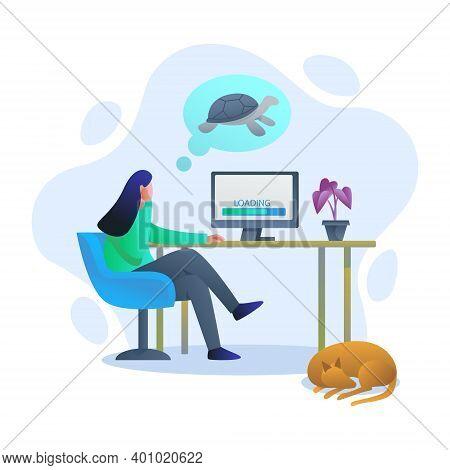 Slow Internet, Slow Loading Internet Illustration Concept