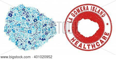 Vector Collage La Gomera Island Map With Healthcare Icons, Chemical Symbols, And Grunge Healthcare I