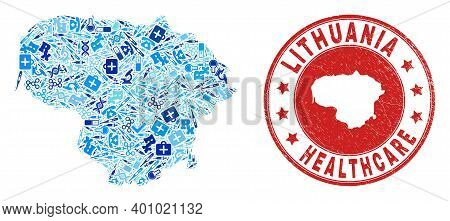 Vector Collage Lithuania Map With Medical Icons, Laboratory Symbols, And Grunge Doctor Rubber Imitat