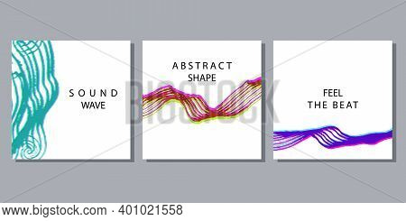 Stereoscopic effect abstract shapes or sound waves set. Vector banner templates with hand-drawn textures.