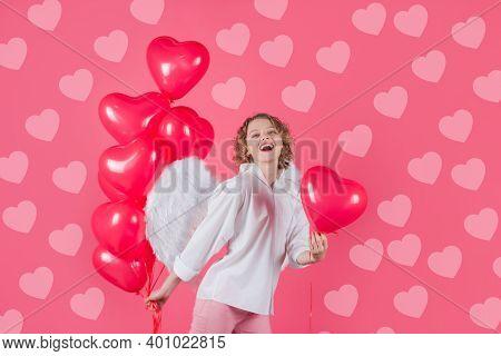 Valentine Day Advertising. Woman Cupid. Cupid Angel Woman With Balloons. Cupid In Valentine Day. Wom
