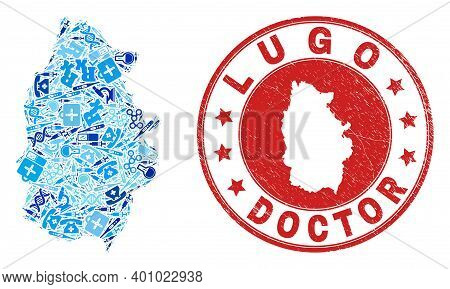 Vector Collage Lugo Province Map Of Vaccination Icons, Analysis Symbols, And Grunge Healthcare Seal.