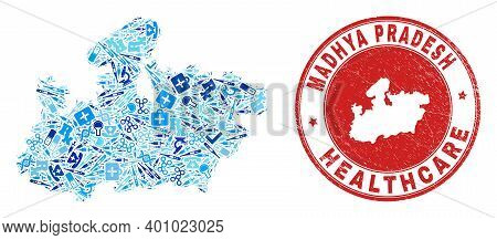 Vector Mosaic Madhya Pradesh State Map Of Healthcare Icons, Receipt Symbols, And Grunge Healthcare W