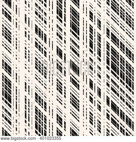 Vector Monochrome Seamless Pattern With Cross Lines, Stripes, Grid, Lattice, Mesh, Net. Simple Plaid