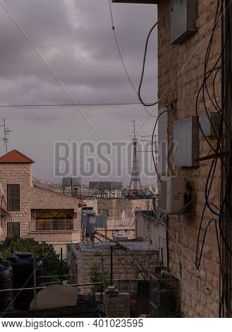 Bethlehem, Israel, December 09, 2020 : Old Part Of The City After Sunset In Bethlehem In The Palesti