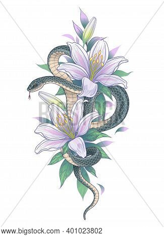 Hand Drawn Twisted Snake Among Lily Flowers Isolated On White. Vertical Floral Arrangement With Serp