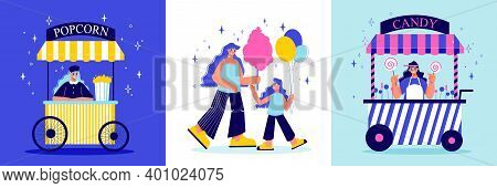 Funfair Amusement Park Design Concept With Three Square Compositions Of Doodle Characters Sweets And