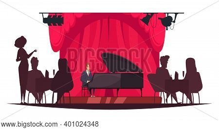 Pianist Playing Music Live In Restaurant With Silhouettes Of People Sitting At Tables Cartoon Vector