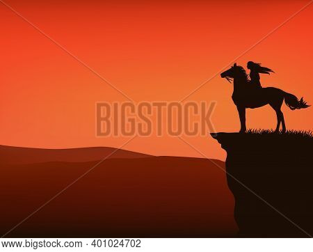 Sunset Wild West Vector Silhouette Scene With Native American Woman Riding Horse At Cliff Top With V