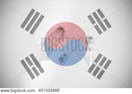 Flag Of South Korea Illustrating Campaign For Global Vaccination Against Covid-19. Epidemic Virus