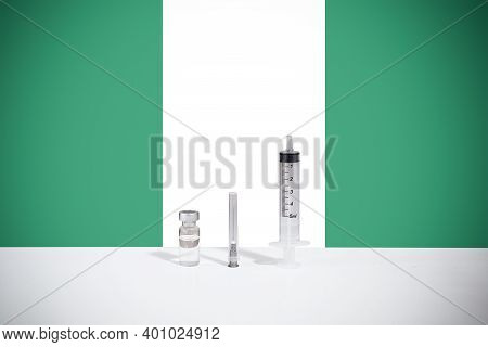 Flag Of Niger Illustrating Campaign For Global Vaccination Against Covid-19. Epidemic Virus