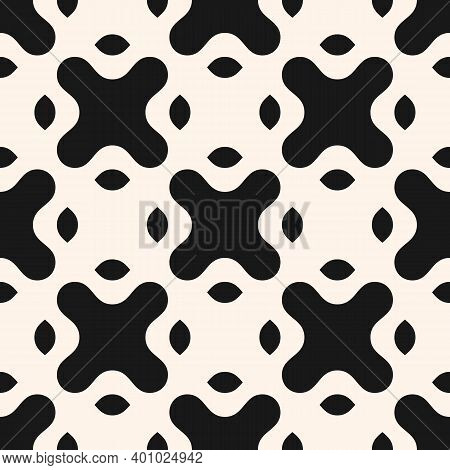 Vector Monochrome Seamless Pattern With Big Curved Shapes, Crosses. Abstract Geometric Background. S