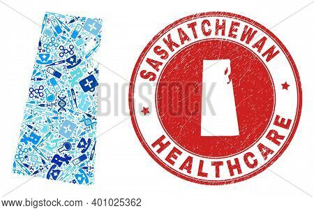Vector Mosaic Saskatchewan Province Map With Medical Icons, First Aid Symbols, And Grunge Health Car