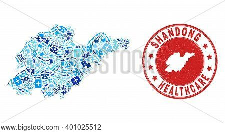 Vector Mosaic Shandong Province Map With Medical Icons, Laboratory Symbols, And Grunge Doctor Seal.