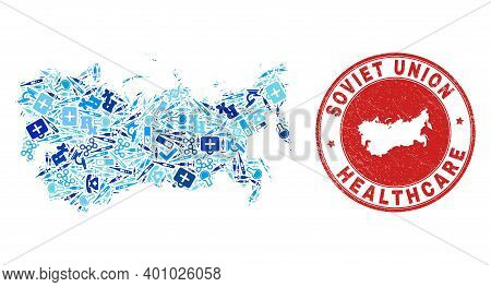 Vector Mosaic Soviet Union Map With Injection Icons, Chemical Symbols, And Grunge Doctor Seal Stamp.