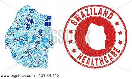 Vector Collage Swaziland Map With Healthcare Icons, Laboratory Symbols, And Grunge Healthcare Seal.