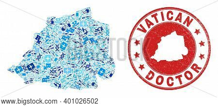 Vector Mosaic Vatican Map With Vaccine Icons, Chemical Symbols, And Grunge Healthcare Seal. Red Roun