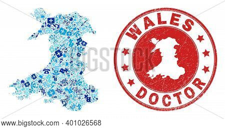Vector Collage Wales Map With Inoculation Icons, Hospital Symbols, And Grunge Healthcare Rubber Imit