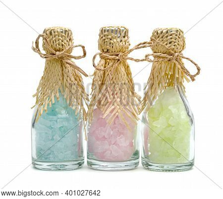 Colorful Rock Sugar Or Crystalline Sugar Glass Bottle Isolated On White Background