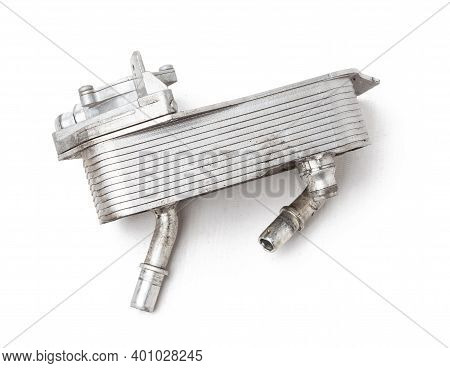Gearbox Heat Exchanger - Radiator, With Metal Chrome Elements And Tubes - Detail Of A Car Mechanism