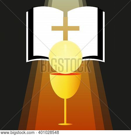 Sacrament Of The Sacrament Of The Eucharist With A Golden Cup, Vector Art Illustration.