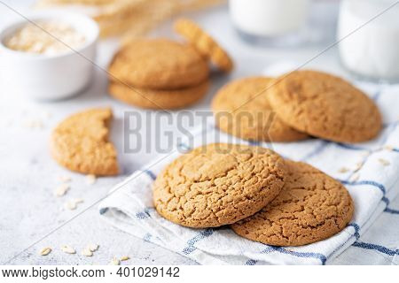 Fresh Sweet Healthy Oatmeal Cookies With Oats