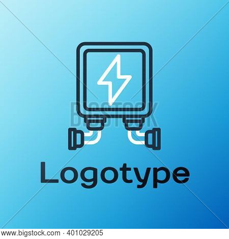 Line Electric Transformer Icon Isolated On Blue Background. Colorful Outline Concept. Vector Illustr