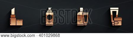 Set Lipstick, Spray Can For Hairspray, Cream Or Lotion Cosmetic Tube And Cream Or Lotion Cosmetic Tu