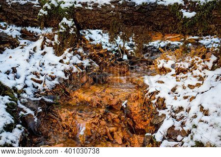 Output Of Mineral Ferruginous Springs, Orange Color Of Iron Ocher - Limonite