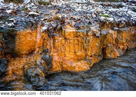 A Limestone Layer On The River, Colored Orange With Iron Ocher - Limonite. Place Of Exit Of Mineral