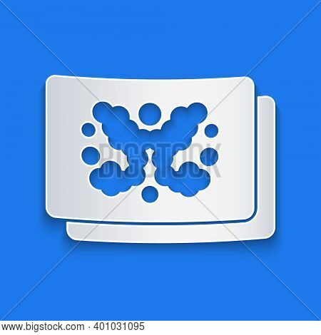Paper Cut Rorschach Test Icon Isolated On Blue Background. Psycho Diagnostic Inkblot Test Rorschach.