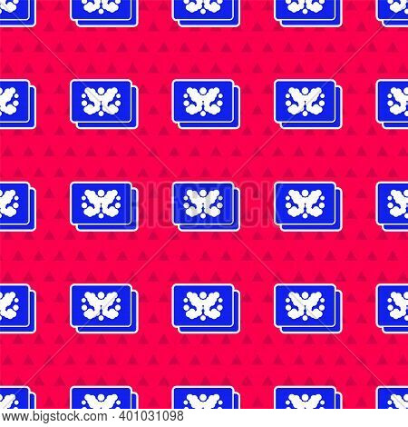 Blue Rorschach Test Icon Isolated Seamless Pattern On Red Background. Psycho Diagnostic Inkblot Test