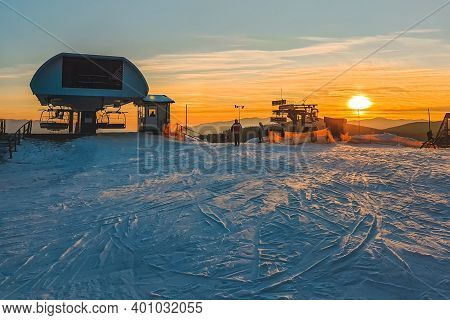 Sunset On The Top Of Ski Hill