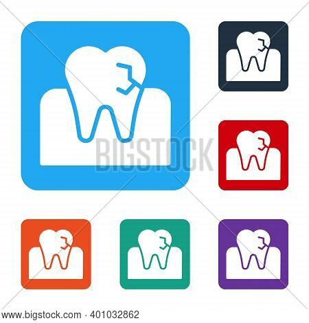White Tooth With Caries Icon Isolated On White Background. Tooth Decay. Set Icons In Color Square Bu