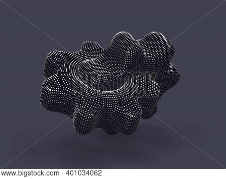 3d Gears Made Of Digital Dots On Gray Background. Abstract Vector Illustration Of Silver Futuristic
