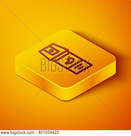 Isometric Line Pepper Spray Icon Isolated On Orange Background. Oc Gas. Capsicum Self Defense Aeroso
