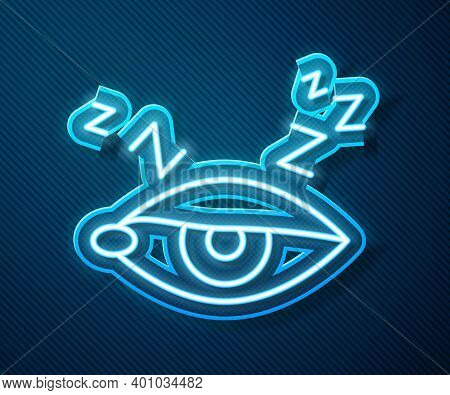 Glowing Neon Line Insomnia Icon Isolated On Blue Background. Sleep Disorder With Capillaries And Pup
