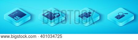 Set Isometric Cardboard Box With Traffic Symbol, Delivery With Cardboard Boxes, Envelope With Magnif