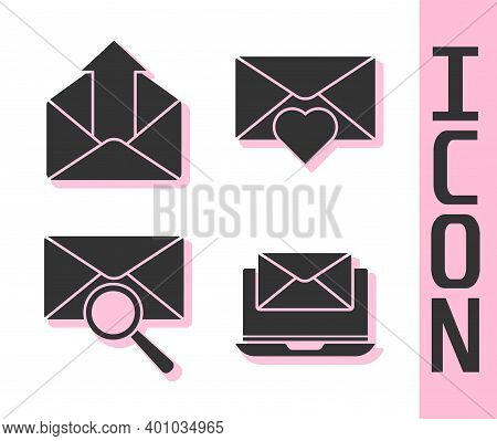 Set Laptop With Envelope, Outgoing Mail, Envelope With Magnifying Glass And Envelope With Valentine