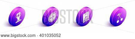 Set Isometric Casino Poker Trophy Cup, Casino Roulette Wheel, Casino Dealer And Casino Slot Machine