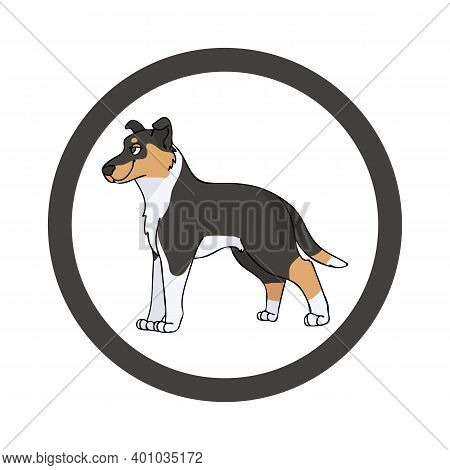 Cute Cartoon Smooth Collie In Dotty Circle Dog Vector Clipart. Pedigree Kennel Doggie Breed For Kenn