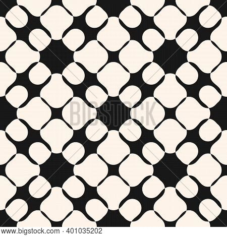 Abstract Black And White Seamless Pattern. Simple Vector Texture With Curved Shapes, Mesh, Net, Weav