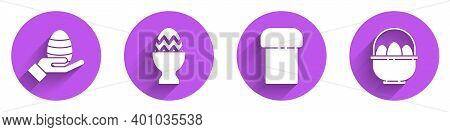 Set Human Hand And Easter Egg, Easter Egg On A Stand, Easter Cake And Basket With Easter Eggs Icon W