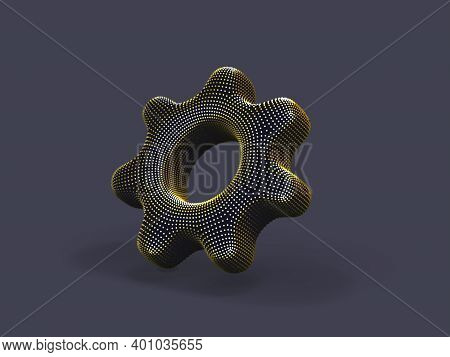 3d Gear Made Of Yellow Dots On Gray Background. Abstract Vector Illustration Of Digital Golden Cogwh