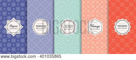 Vector Geometric Seamless Pattern Set. Collection Of Background Swatches With Elegant Minimal Labels