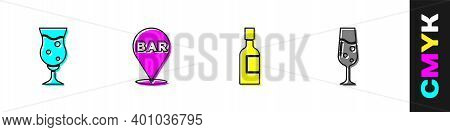 Set Glass Of Beer, Alcohol Bar Location, Champagne Bottle And Champagne Icon. Vector