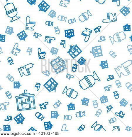 Set Line Washbasin Cabinet With Tap, Toilet Bowl And Toilet Bowl On Seamless Pattern. Vector