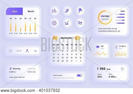 Gui Elements For Fitness Workout Mobile App. Fitness Activity Planner With Calendar, Heart Rate Moni